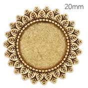 10pcs Antique Gold Plated Leaf Brooch Findings with 20mm Blank Round Bezel-Safety Pin Fastening