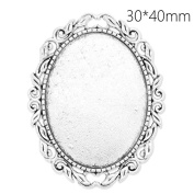 10pcs-30x40mm Oval Blank Bezel Antique Silver Plated Old Pattern Brooch Findings with Safety Pin Fastening