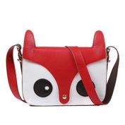 Fox Owl Retro Shoulder Messenger Bag Satchel Handbag,red