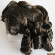 "NARCO Craft DOLL HAIR WIG Style 393-318-01 DOUBLE LAYER CURLS Fits SIZE 18cm - 20cm Colour DARK BROWN Long RINGLETS at Back, Ringlet ""Pony Tail"" at Crown & Front BANGS"