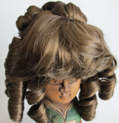 "NARCO Craft DOLL HAIR WIG Style 393-439-00 DOUBLE LAYER CURLS Fits SIZE 20cm - 23cm Colour (LT.) LIGHT BROWN Long RINGLETS at Back, Ringlet ""Pony Tail"" at Crown & Front BANGS"