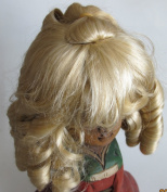 "NARCO Craft DOLL HAIR WIG Style 393-319-00 DOUBLE LAYER CURLS Fits SIZE 25cm - 28cm Colour BLONDE Long RINGLETS at Back, Ringlet ""Pony Tail"" at Crown & Front BANGS"