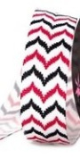 2.2cm Grosgrain Multi Colour Chevron Stripe Ribbon - Hot Pink/black - 2yards