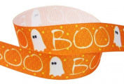 HipGirl Holiday Halloween Grosgrain Ribbon--Skull, Spider, Candy Corn etc (5yd 2.5cm Halloween Grosgrain Ribbon--Boo-Yah!)-B040