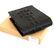 Men Money Clip Genuine Leather Crazy Style Wallet Coin Pocket Purse Crocodile Craftsmanship in Box Black