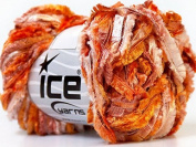 Fireside Siena Orange Wine White Double Fringe Ribbon Yarn Ice 30064 50 Gramme