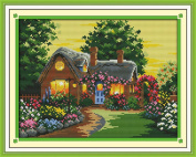 Benway Stamped Cross Stitch Brilliantly Illuminated Cottage In Garden 11CT 47X38CM
