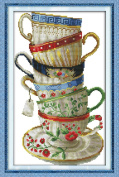 Benway Stamped Cross Stitch Six Beatiful Coffee Cups 11CT 35x54cm