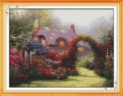 Benway Stamped Cross Stitch Romantic Cottage Garden 11CT 66x52cm