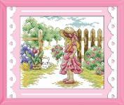 Benway Stamped Cross Stitch Girl And Cat 11CT 33x27cm