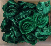 Green Satin Ribbon Rose Shape Applique Rosette for Sewing Crafting 15mm ~ 30 Per Pack