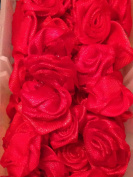 Red Satin Ribbon Rose Shape Applique Rosette for Sewing Crafting 15mm ~ 30 Per Pack