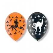 Halloween Witches & Bat 28cm Latex Balloons x 6