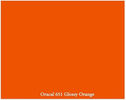 30cm x 3m Roll of Glossy Oracal 651 Orange Repositionable Adhesive-Backed Vinyl for Craft Cutters, Punches and Vinyl Sign Cutters by VinylXSticker