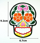 White Candy Sugar Skull Hippie Punk Rock Emo Tatoo Rockabilly Lady Biker Rider Jacket T-shirt Embroidered Sew...
