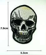 Silver Skull Embroidered Iron on Patches