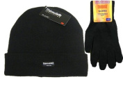 Mens Black Thermal Thinsulate Winter Hat and Handy Thermal Gloves Set