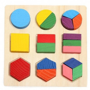 Wooden Geometry Fraction Puzzles Building Blocks Child Educational Toy