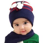 Dealzip Inc® Cute Unisex Kids Chirlden Baby Navy Blue Bee Pattern Woven Knit Crochet Warm Winter Fluffy Beanie Hat Cap and Scarf Set