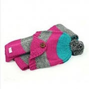 Dealzip Inc® Cute Unisex Kids Chirlden Toddler Hot Pink Two-Toned Stripe Woven Knit Crochet Warm Winter Earflap Hat Cap and Scarf Set