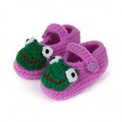 Dealzip Inc® Purple Frog-cute Unisex Newborn Baby Crochet Knitted Crib Soft Handmade Shoes Buckle Infant Pre Walker Toddler Socks