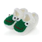 Dealzip Inc® White Frog-cute Unisex Newborn Baby Crochet Knitted Crib Soft Handmade Shoes Buckle Infant Pre Walker Toddler Socks
