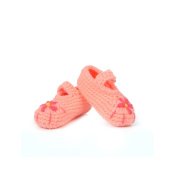 Dealzip Inc® Watermelon Red Five-leaf Flower Unisex Newborn Baby Crochet Knitted Crib Soft Handmade Shoes Buckle Infant Pre Walker Toddler Socks