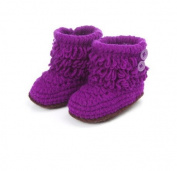 Dealzip Inc® Unisex Boy Girl Baby Newborn Infant Hand Knitting Crochet Purple Tassel Buckle Shoes Socks Boots