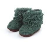 Dealzip Inc® Unisex Boy Girl Baby Newborn Infant Hand Knitting Crochet Greyish-green Tassel Buckle Shoes Socks Boots