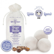 3 Pack of Wool Dryer Balls with Free Soap Nuts - 100% Premium Organic Felt Wool Dryer Balls (Xl, Handmade, Eco-friendly, Baby Safe Fabric Softener, All - Natural Laundry Fabric Softener) with 100% Natural Cloth Nappy Laundry Detergent - Perfect for Ba ..