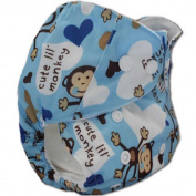 Happy Flute Blue Monkey Printed One Size Pocket Printed Nappies