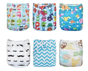 Naturally Nature Cloth Nappy 6pcs Pack Washable Adjustable with 2 Inserts Each. Fits 2.7-15kg Baby's