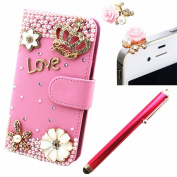 Vandot 3 in1 Accessory Set Cover Phone Case for SmartPhone Apple iPhone 6 Plus 14cm 3D Bling Rhinestone Flip Leather Skin Cover Pouch Glitter Magnet PU flower diamond LOVE Flip Case Camellia Diamond Crown Crown 3D Case Crystal Mobile Phone Cover Ca ..