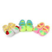 Elee 3 Pairs Baby Candy Colour Handmade Crochet Knit Socks Crib Toddler Shoes