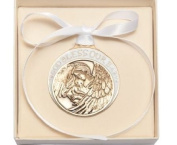 Gold Oxide Baby with Guardian Angel Crib Medal with White - Boxed