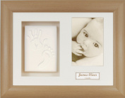 Anika-Baby BabyRice Baby Handprint Footprint Kit Soft White Clay Dough Beech Effect Box Photo Display Frame