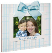 Blue Plaid Love At First Sign Wood 4X6 Picture Frame