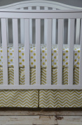 Lavender Linens Two Piece Metallic Gold Chevron and Dot Crib Bedding Set