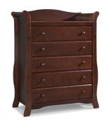 Stork Craft Avalon 5 Drawer Universal Dresser, Cherry