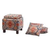 "Madison Park Shelley Square Storage Ottoman With Pillows - Multi - 18x 46cm x 18""/41cm x 41cm"