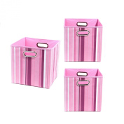 Modern Littles Organisation Bundle-3 Storage Bins, Rose Stripes