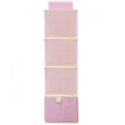 Wrapables® 3 Shelf + 1 Drawer Hanging Nursery Closet Organiser, Pink