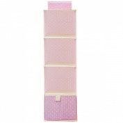 Wrapables® 3 Shelf + 1 Drawer Hanging Nursery Closet Organiser, Pink