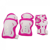 Click Down 3 Pcs/Set Children Fuchsia White Knee Palm Elbow Protective Pad Support