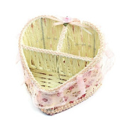 FOREVER YUNG Off White Twisted Paper String Woven Heart Shaped Storage Basket