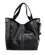 Michael Kors Astor Large Satchel Tote Handbag in Black Leather