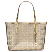 Michael Kors Womens Flower Perforated Small Travel Tote Gold Handbag