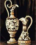 Diy oil painting, paint by number kit- Two Vases 16*50cm .