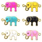 Beadnova Summer Hot Colourful Elephant Enamel Bracelet Connector Charm for Friendship Bracelet Mix Colour Lot