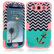 Rosepark(TM)Galaxy S3 Case, 3 In 1 Hybrid High Impact Soft Silicone + Hard PC Luminous Chevron Anchor Blue Pattern Case Cover for Samsung Galaxy S3 S III i9300(Pink), With Screen Protector, Stylus Pen and Cleaning Cloth